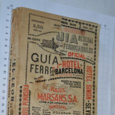 Libros antiguos: ANTIGUO / VINTAGE - GUÍA GENERAL DE FERROCARRILES - SEPTIEMBRE 1928 / ¡¡MUY DIFÍCIL Y RARO¡¡. Lote 277178193