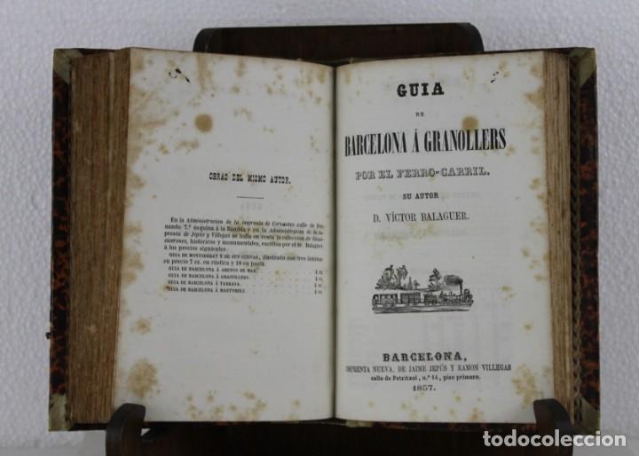 Libros antiguos: Guía Ferro-Carril de Barcelona á Arenys, Martorell, Tarrassa, Granollers. Víctor Balaguer 1857 - Foto 2 - 277567393
