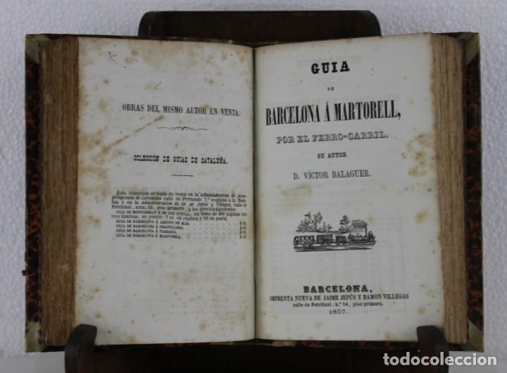 Libros antiguos: Guía Ferro-Carril de Barcelona á Arenys, Martorell, Tarrassa, Granollers. Víctor Balaguer 1857 - Foto 4 - 277567393