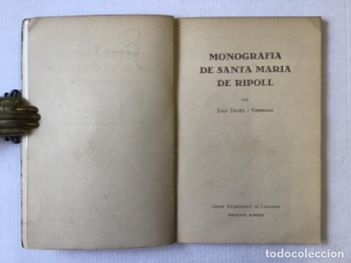 Libros antiguos: MONOGRAFIA DE SANTA MARIA DE RIPOLL. - DANÉS I VERNEDAS, Joan. - Foto 2 - 123180244