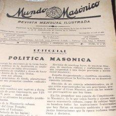 Libros antiguos: 1937.- MASONERIA. REVISTA MUNDO MASÓNICO. MUY CENTRADA EN LA GUERRA CIVIL ESPAÑOLA.. Lote 26315657