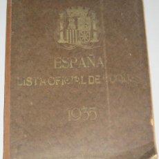 Libros antiguos: LISTA OFICIAL DE BUQUES 1935 - MARINA MILITAR - MARINA MERCANTE - MARINA PESQUERA. Lote 28618914