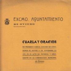 Libros antiguos: FEDERICO GARCÍA SANCHIZ: CHARLA Y ORACIÓN EN COVADONGA - ASTURIAS - 1937. Lote 32102282