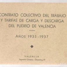 Libros antiguos: CONTRATO COLECTIVO DEL TRABAJO DE CARGA Y DESCARGA DEL PUERTO DE VALENCIA, AÑOS 1935-37. Lote 70594621