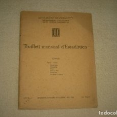 Libros antiguos: BUTLLETI MENSUAL D'ESTADISTICA , SETEMBRE-NOVEMBRE 1936 .. Lote 73436883