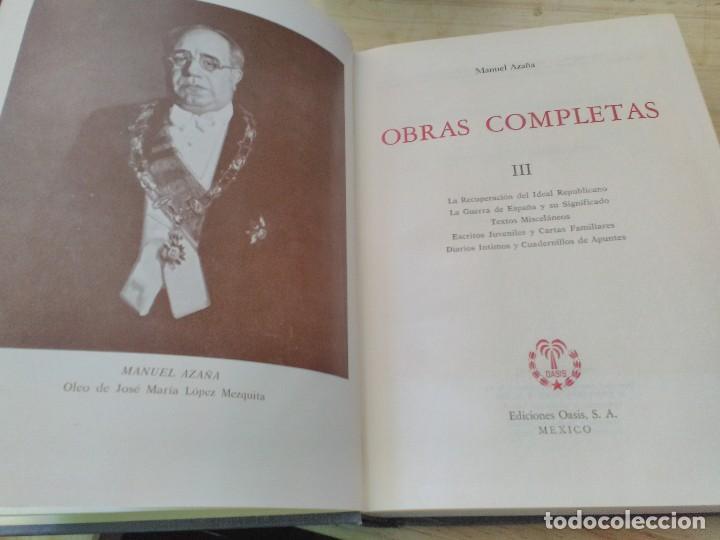 Libros antiguos: MANUEL AZAÑA OBRAS COMPLETAS - 4 TOMOS - OASIS 1966 - Foto 4 - 82284684