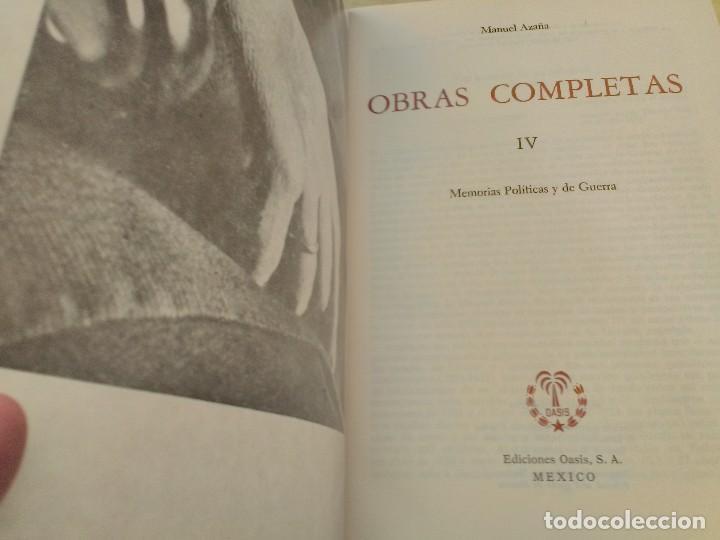 Libros antiguos: MANUEL AZAÑA OBRAS COMPLETAS - 4 TOMOS - OASIS 1966 - Foto 5 - 82284684