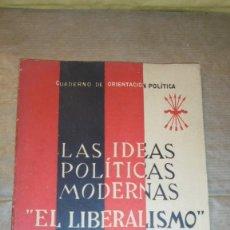 Libros antiguos: LAS IDEAS POLITICAS MODERNAS '' EL LIBERALISMO ''- GONZALO TORRENTE BALLESTER . CUADERNOS DE ORIENTA. Lote 109467931