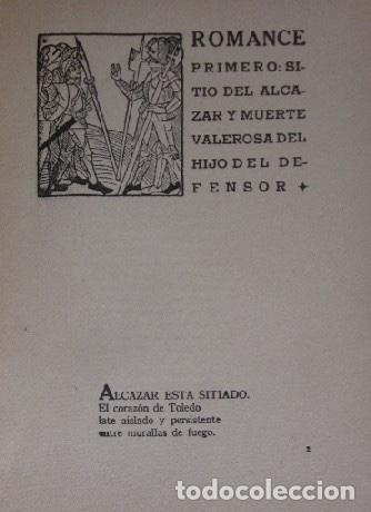 Libros antiguos: ROMANCERO DEL ALCAZAR - GUERRA CIVIL ESPAÑOLA - AÑO 1937 - Foto 4 - 116941451