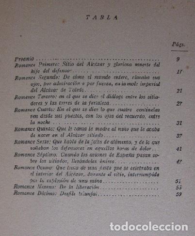 Libros antiguos: ROMANCERO DEL ALCAZAR - GUERRA CIVIL ESPAÑOLA - AÑO 1937 - Foto 7 - 116941451