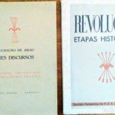 Libros antiguos: DOS LIBROS: REVOLUCIÓN ETAPAS HISTÓRICAS Y TRES DISCURSOS 18 DE JULIO. SUÑER, CUESTA, FRANCO. Lote 164882174