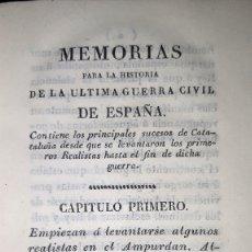 Libros antiguos: JOSE MARQUET Y ROCA. MEMORIAS PARA LA HISTORIA DE LA ULTIMA GUERRA CIVIL DE ESPAÑA. CAMPAÑA 1820-23.. Lote 179196581