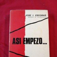 Libros antiguos: GUERRA CIVIL ESPAÑOLA. ASI EMPEZO... JOSE I. ESCOBAR. Lote 187145987