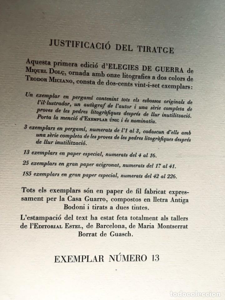 Libros antiguos: ELEGIES DE GUERRA - Nº13 de 13 exemplars en papel especial - MIQUEL DOLÇ - MICIANO (ilustr.) - Foto 2 - 194226586