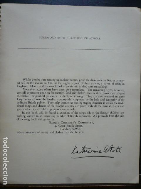 Libros antiguos: GUERRA CIVIL. EXILIO NIÑOS VASCOS. CANCIONERO IMPRESO EN INGLATERRA POR EL BASQUE CHILDRENS COMMITE - Foto 2 - 194875496