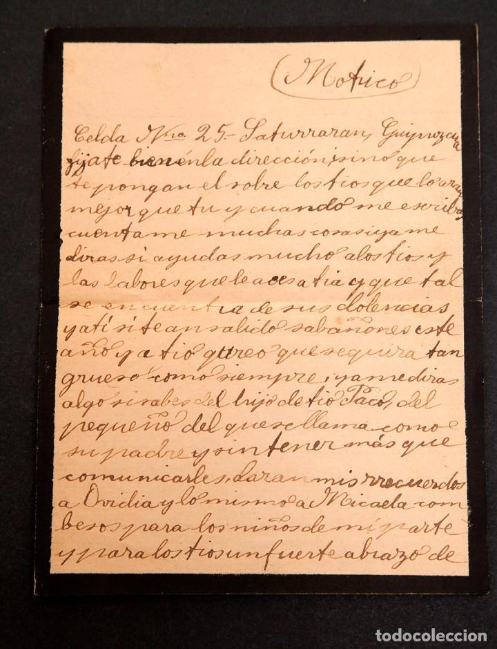 CARCEL DE MUJERES DE SATURRARAN - CARTA DE PRESA 1939 - GUERRA CIVIL (Libros antiguos (hasta 1936), raros y curiosos - Historia - Guerra Civil Española)