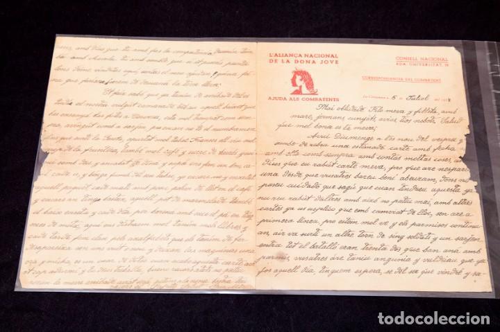 CARTA GUERRA CIVIL MANUSCRITA 1938 - REPUBLICANA - ALIANÇA NACIONAL DE LA DONA JOVE (Libros antiguos (hasta 1936), raros y curiosos - Historia - Guerra Civil Española)