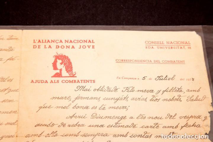 Libros antiguos: CARTA GUERRA CIVIL MANUSCRITA 1938 - REPUBLICANA - ALIANÇA NACIONAL DE LA DONA JOVE - Foto 2 - 195073890