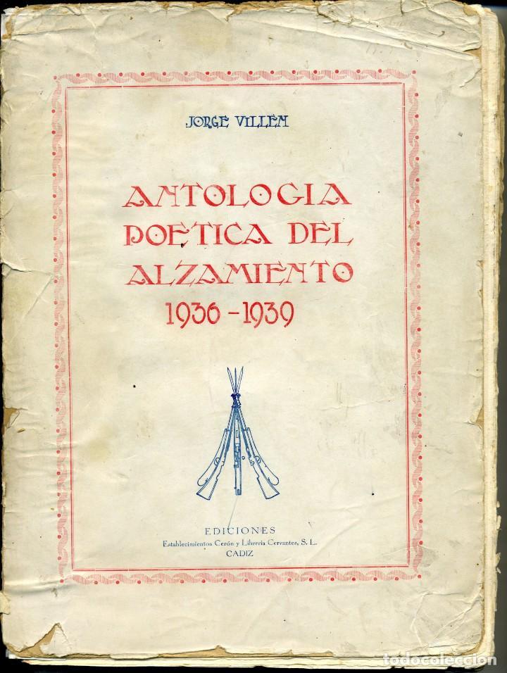ANTOLOGÍA POÉTICA DEL ALZAMIENTO 1936-1939, CON CARTA, SOBRE Y TARJETÓN MANUSCRITOS (Libros antiguos (hasta 1936), raros y curiosos - Historia - Guerra Civil Española)