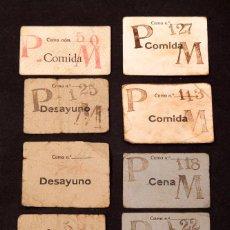 Libros antiguos: GUERRA CIVIL - 9 VALES DE COMIDA - TIQUETS - PARQUE MÓVIL - 1938. Lote 213879223