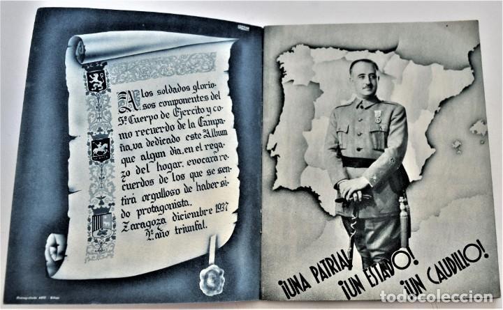 Libros antiguos: ESTAMPAS DE LA GUERRA. 5º CUERPO DEL EJERCITO. ZARAGOZA DICIEMBRE 1937 AÑO TRIUNFAL. - Foto 3 - 216016972