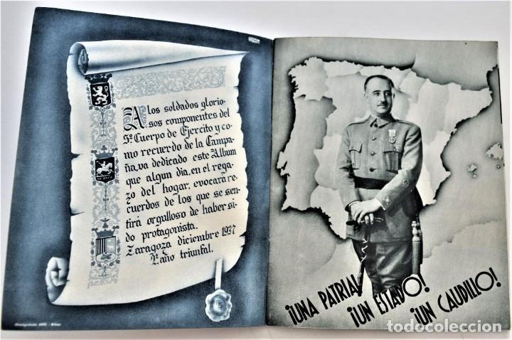 Libros antiguos: ESTAMPAS DE LA GUERRA. 5º CUERPO DEL EJERCITO. ZARAGOZA DICIEMBRE 1937 AÑO TRIUNFAL. - Foto 3 - 216017046
