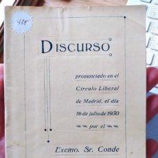 Libros antiguos: GUERRA CIVIL. DISCURSO DEL CONDE DE ROMANONES, 1930. Lote 240871955