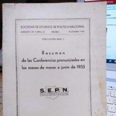 Libros antiguos: RESUMEN DE LAS CONFERENCIAS. SOCIEDAD DE ESTUDIOS DE POLITICA NACIONAL, 1933. Lote 240905285