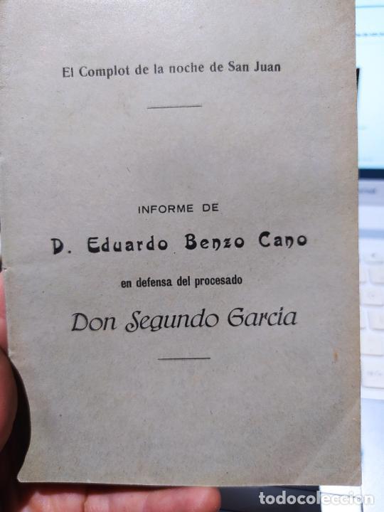 DICTADURA PRIMO DE RIVERA, EL COMPLOT DE LA NOCHE DE SAN JUAN, EDUARDO BENZO. 1927 (Libros antiguos (hasta 1936), raros y curiosos - Historia - Guerra Civil Española)