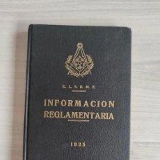 Libros antiguos: LOTE MASONERÍA - PERIODO 1925 - 1939 (GUERRA CIVIL). Lote 249133105