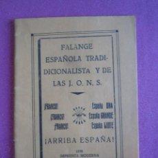 Libri antichi: FALANGE ESPAÑOLA TRADICIONALISTA 1938 GUERRA CIVIL SAMA LANGREO ASTURIAS. Lote 267348424