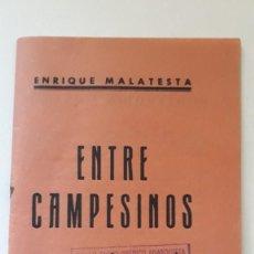 Libros antiguos: ENTRE CAMPESINOS. ENRIQUE MALATESTA. SINDICATO DE LAS INDUSTRIAS ALIMENTICIAS JUVENTUDES LIBERTARIAS. Lote 288033748