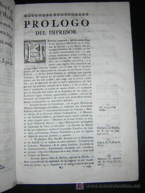 Libros antiguos: 1775 - FRANCISCO CASCALES - DISCURSOS HISTORICOS DE LA MUY NOBLE Y MUY LEAL CIUDAD DE MURCIA - Foto 5 - 26770697