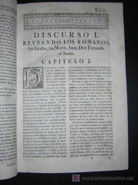 Libros antiguos: 1775 - FRANCISCO CASCALES - DISCURSOS HISTORICOS DE LA MUY NOBLE Y MUY LEAL CIUDAD DE MURCIA - Foto 6 - 26770697