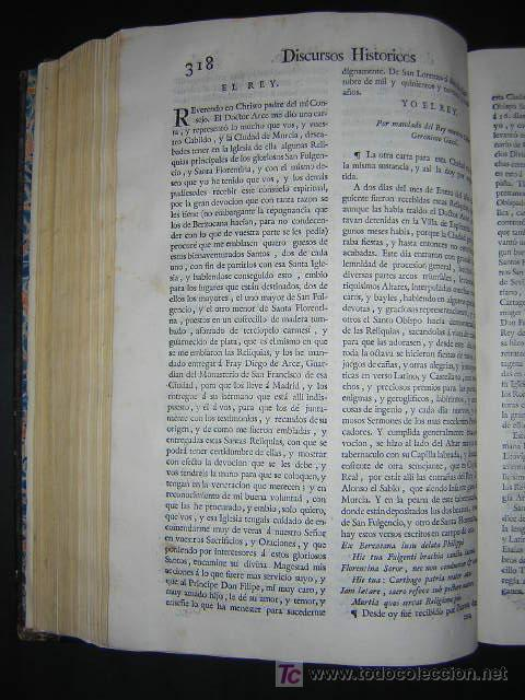 Libros antiguos: 1775 - FRANCISCO CASCALES - DISCURSOS HISTORICOS DE LA MUY NOBLE Y MUY LEAL CIUDAD DE MURCIA - Foto 8 - 26770697