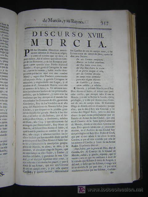 Libros antiguos: 1775 - FRANCISCO CASCALES - DISCURSOS HISTORICOS DE LA MUY NOBLE Y MUY LEAL CIUDAD DE MURCIA - Foto 9 - 26770697
