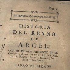 Libros antiguos: HISTORIA DEL REYNO DE ARGEL. A-H-302. Lote 20375019