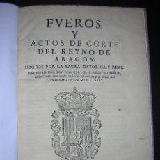 Libros antiguos: 1686 - FUEROS Y ACTOS DE CORTE DEL REYNO DE ARAGON, EN LAS CORTES DE ZARAGOZA DE 1684 - TABACO. Lote 26271285