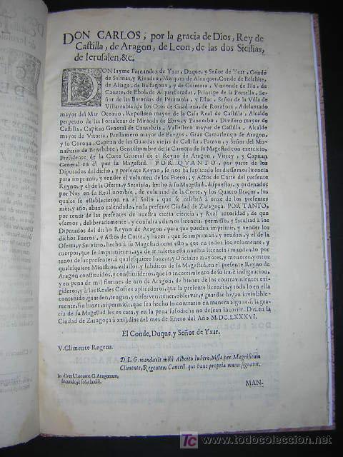Libros antiguos: 1686 - FUEROS Y ACTOS DE CORTE DEL REYNO DE ARAGON, EN LAS CORTES DE ZARAGOZA DE 1684 - TABACO - Foto 2 - 26271285