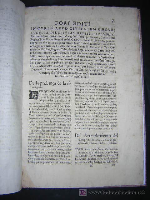 Libros antiguos: 1686 - FUEROS Y ACTOS DE CORTE DEL REYNO DE ARAGON, EN LAS CORTES DE ZARAGOZA DE 1684 - TABACO - Foto 8 - 26271285