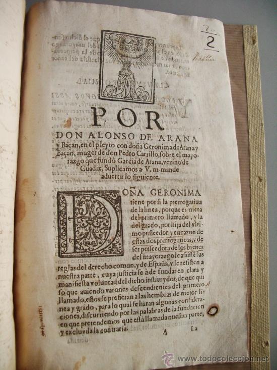 Libros antiguos: 1523- MAYORAZGO Y FAMILIA ARANA.GUADIX, HUÉLAGO, ALCALÁ LA REAL. GRANADA. - Foto 8 - 26988682