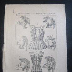 Libros antiguos: LAMINA S.XIX - EPOCA GRIEGA CASCOS Y ARMADURAS - GRECIA. Lote 20301070