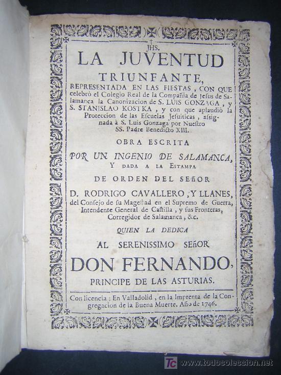 1746 - LA JUVENTUD TRIUNFANTE - JESUITAS, SALAMANCA, POESIA (Libros antiguos (hasta 1936), raros y curiosos - Historia Antigua)