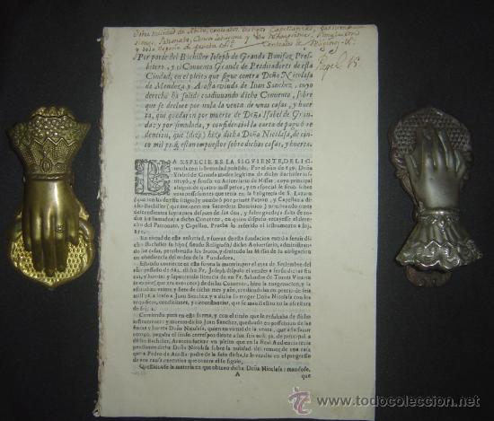 1630-PLEYTO DE TIERRAS,VALENCIA, JERÉZ, JAÉN. MUY RARO.PUEDE PAGARSE A PLAZOS (Libros antiguos (hasta 1936), raros y curiosos - Historia Antigua)