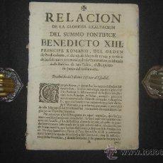 Libros antiguos: 1724 – RARA RELACIÓN DE BENEDICTO XIII. MADRID. PRÍNCIPE ROMANO. PRIMERA EDICIÓN ESPAÑOLA. Lote 27640973