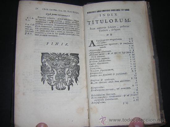 Libros antiguos: 1689 - ANTONIO PEREZ - INSTITUTIONES IMPERIALES - Foto 8 - 25953543