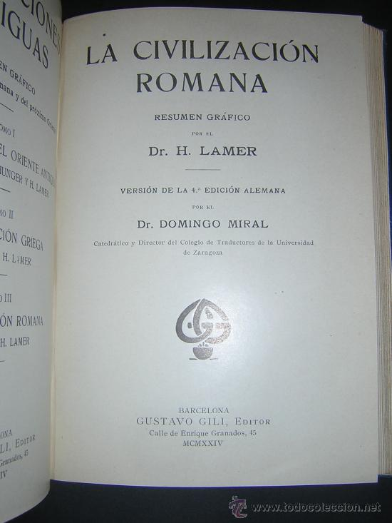 Libros antiguos: 1924 - LAMER - CIVILIZACIONES ANTIGUAS: ORIENTE PROXIMO, GRECIA, ROMA - GUSTAVO GILI - Foto 10 - 26205653