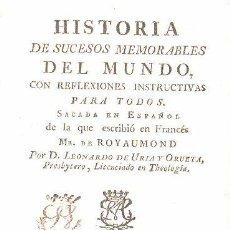 Libros antiguos: 1779,HISTORIA DE LOS SUCESOS MEMORABLES DEL MUNDO,MADRID,MANUEL MARTÍN,PERGAMINO. Lote 62144599