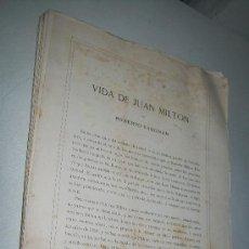 Libros antiguos: VIDA DE JUAN MILTON( LIBRO EN RAMA)-ROBERTO VAUGHAN-S/F.-. Lote 29109257