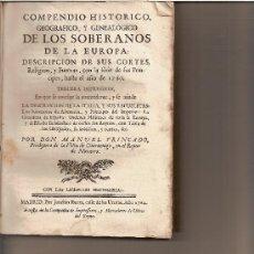 Libros antiguos: TRINCADO, MANUEL - COMPENDIO HISTÓRICO, GEOGRÁFICO Y GENEALÓGICO. MADRID, 1764. 3ª IMPRESIÓN. Lote 29300633